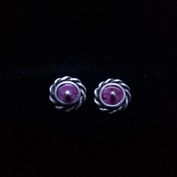Aretes de plata hilo entorchado con spondylus lila