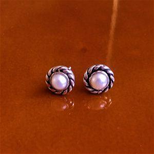 Topos de Plata con perla borde entorchado